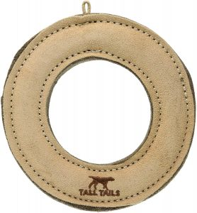 Tall Tailes Leather Ring Natural Dog Toy