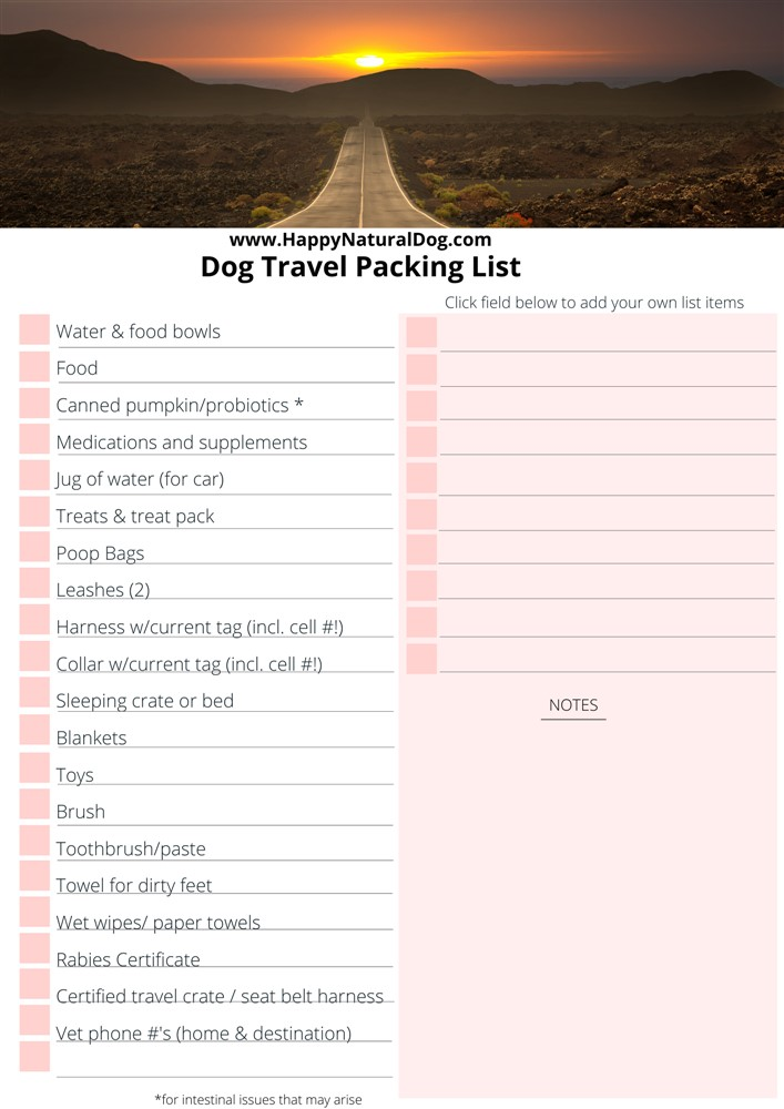traveling with dogs packing list