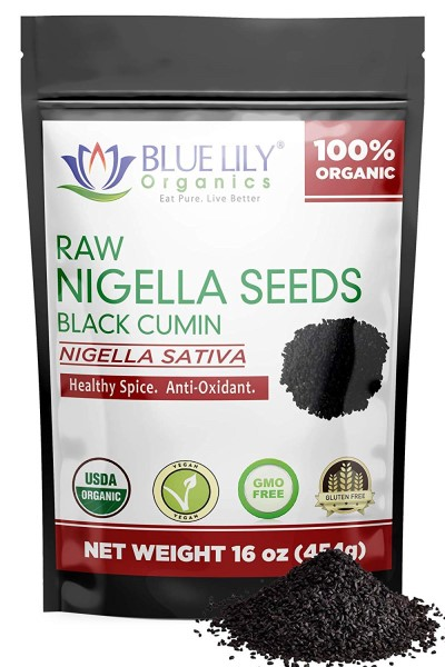 Blue Lily Organic Black Seed to use as a natural dewormer for dogs